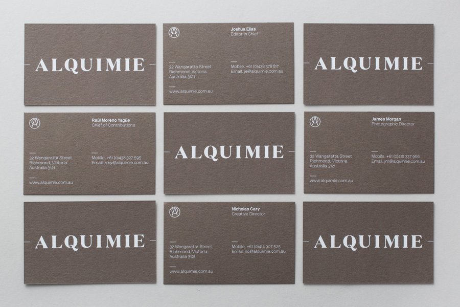 Business card design with coloured board and white ink detail by Thought Assembly for Alquimie
