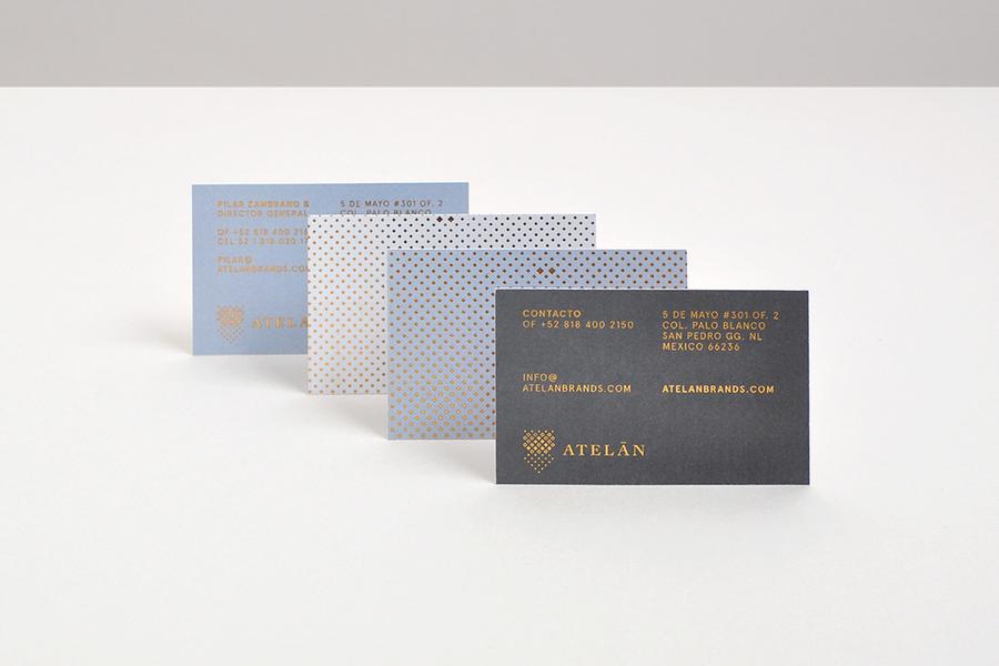 Gold block foiled business cards for Atelan Fashion Brand designed by Firmalt