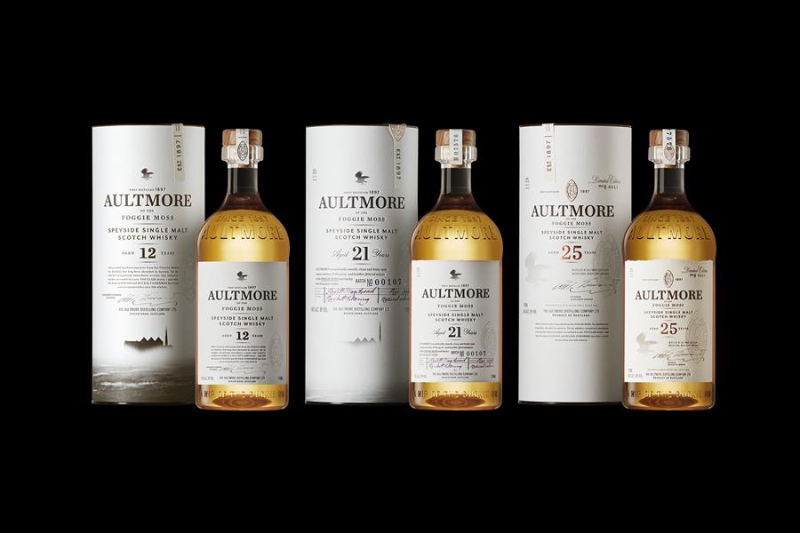 Packaging for single malt Scotch whisky brand Aultmore designed by Stranger & Stranger