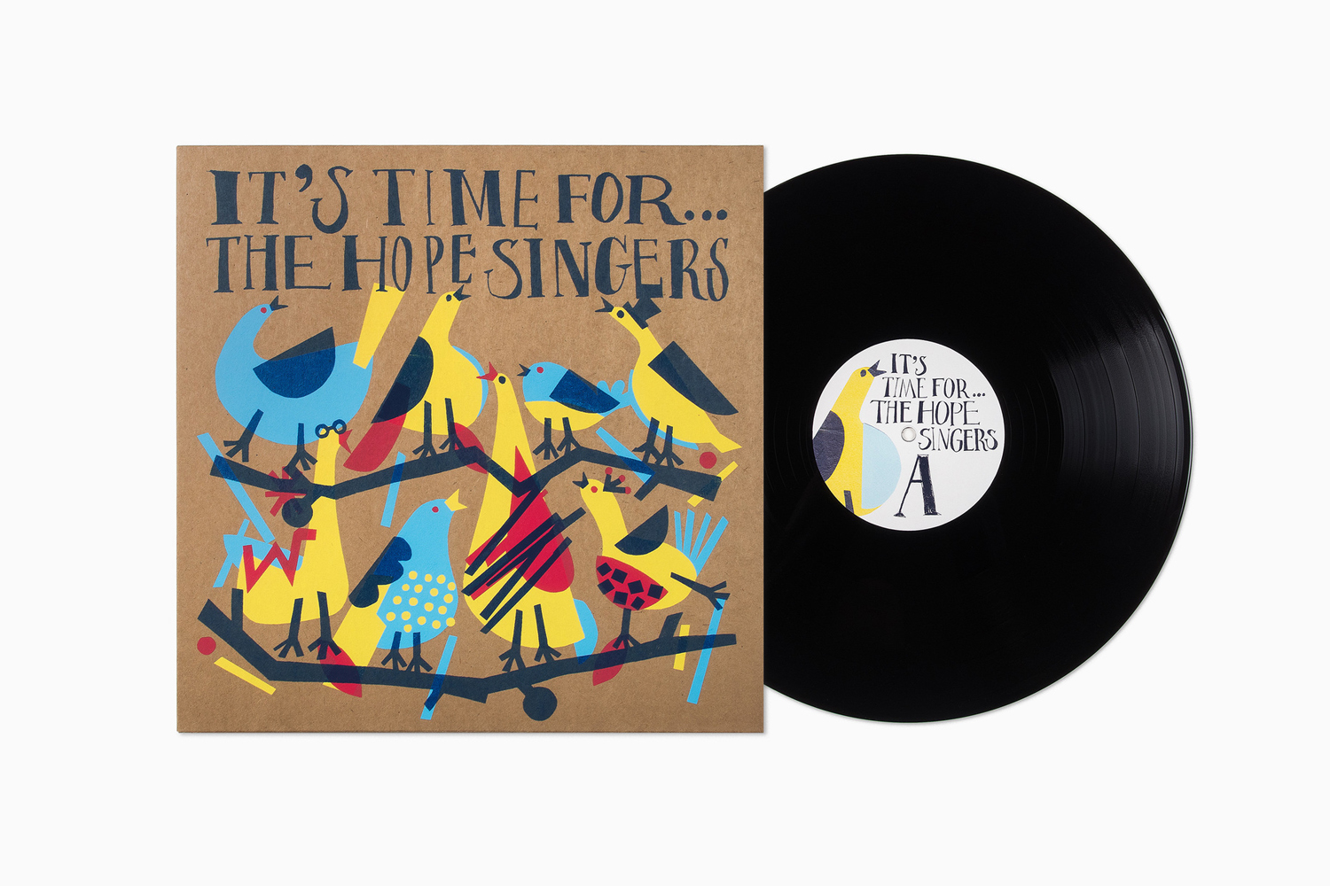 Limited edition illustrated record sleeve for The Hope Singers by Bedow