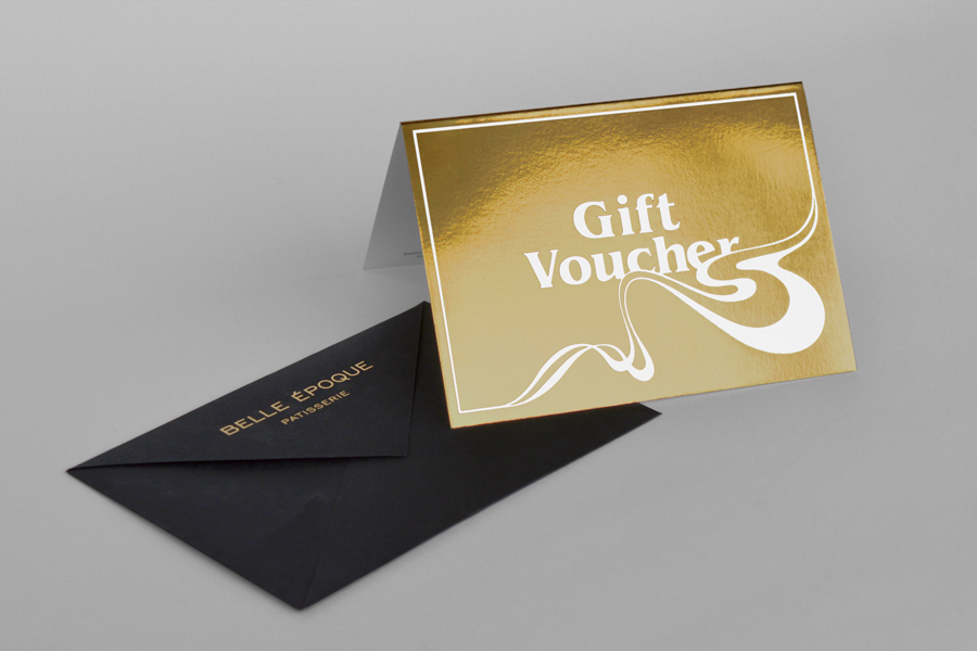 Gold foiled gift voucher for London based French Patisserie Belle Epoque by Mind Design
