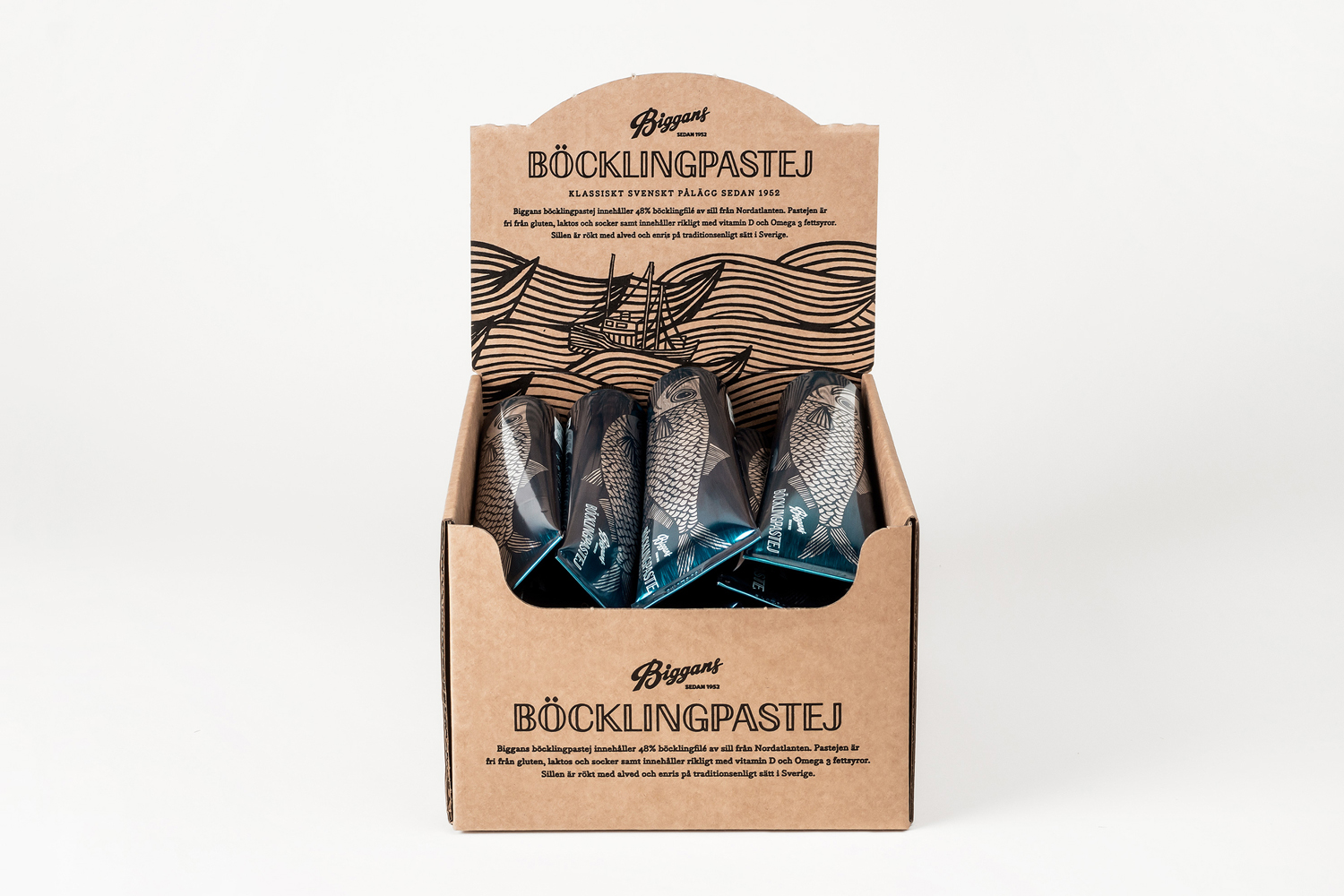 Package design and POS for Biggans Böcklingpastej by Bedow, Sweden
