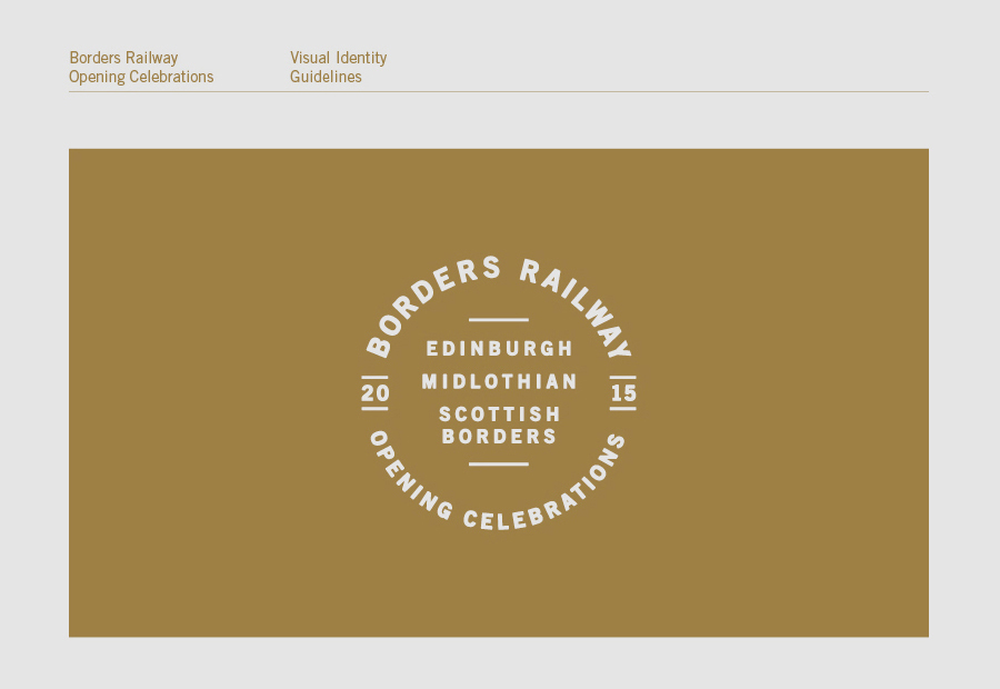 Brand identity guidelines for Borders Railway Opening Celebration by Glasgow based graphic design studio KVGD
