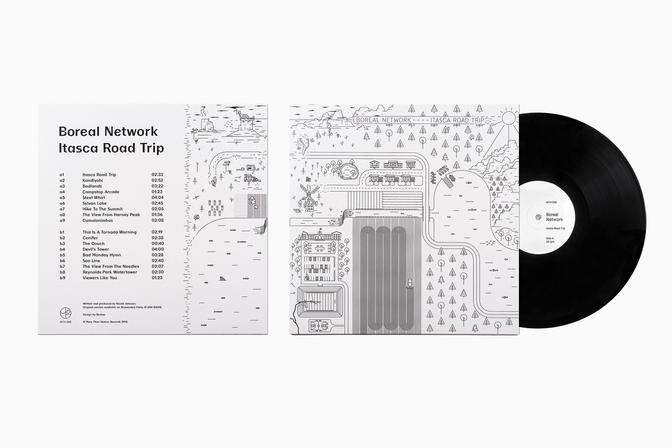 Illustrated record sleeve for Boreal Network's album rerelease Itasca Road Trip, designed by Bedow, Sweden