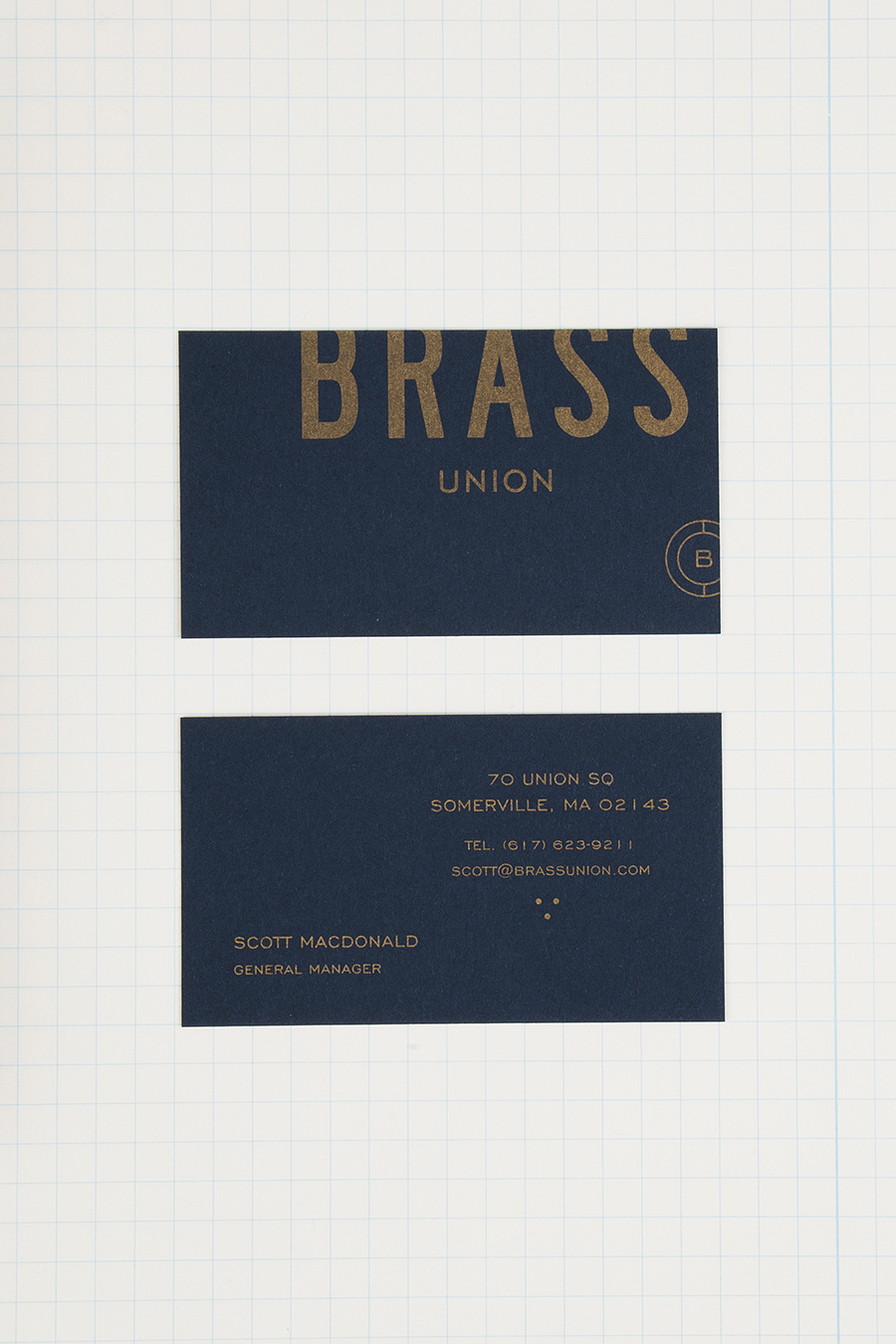 Logo and metallic ink business cards for Somerville pub and cocktail bar Brass Union designed by Oat