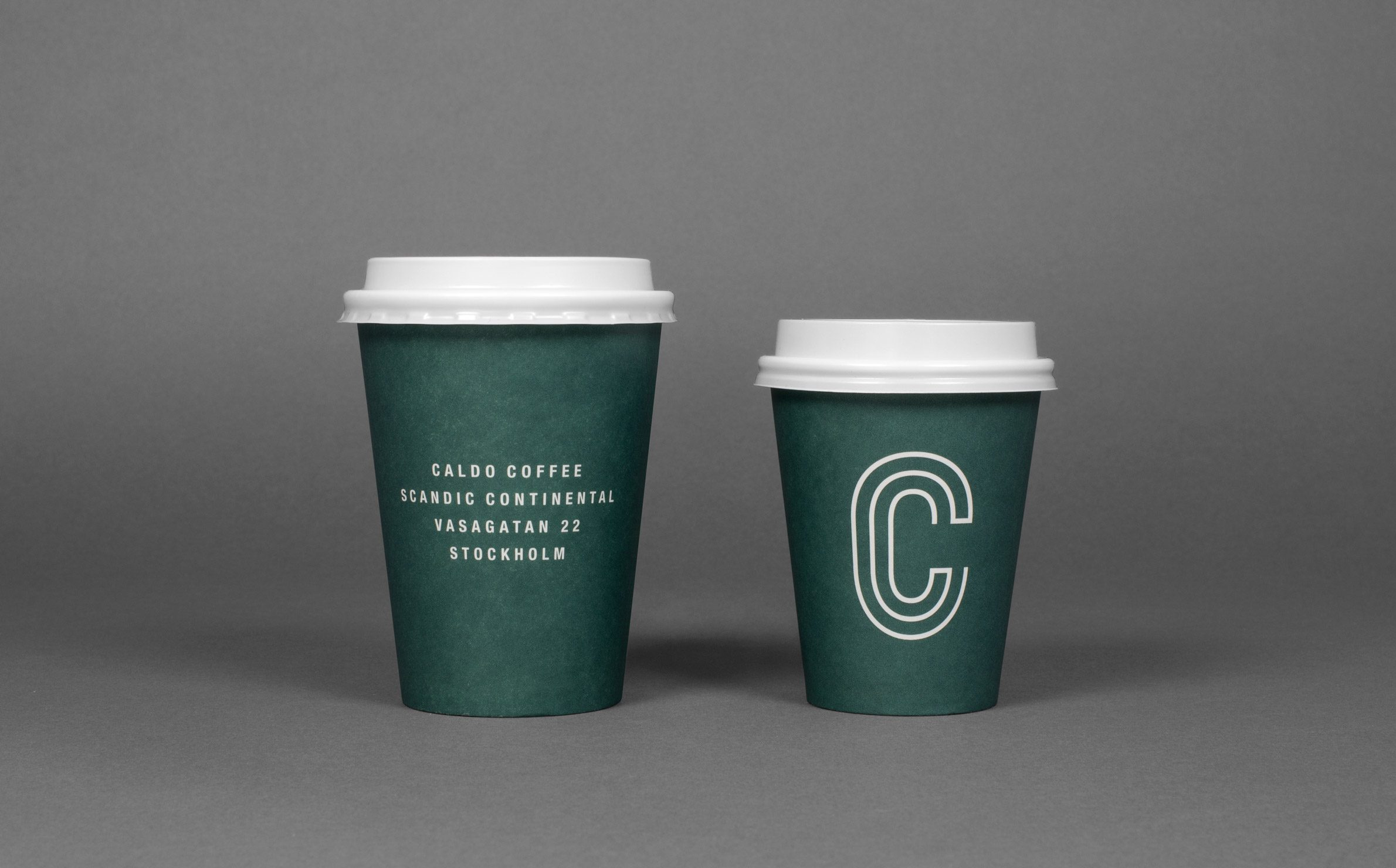 Logo, packaging and signage designed by 25ah for Stockholm cafe Caldo Coffee at the Scandic Continental
