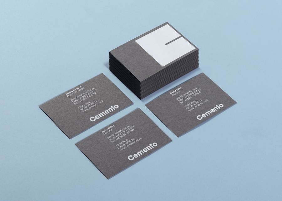 Logo and grey business card with white ink detail designed by S-T for UK based Italian cement veneer business Cemento