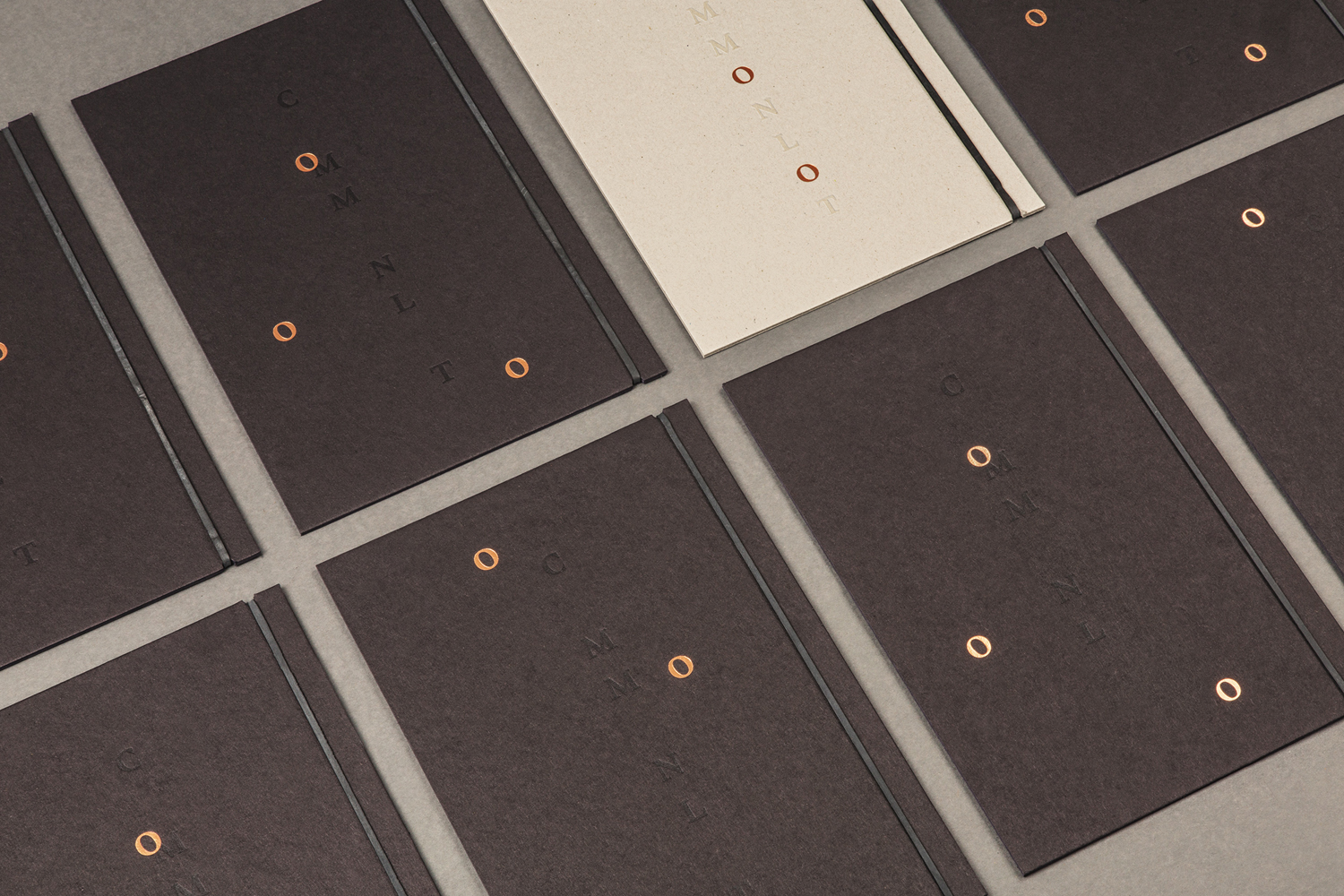 Brand identity and copper block foiled menu covers designed by Perky Bros for Millburn restaurant Common Lot