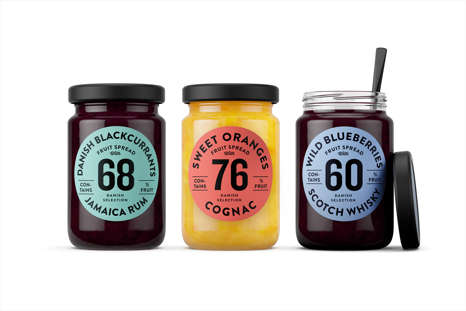 Package design for fruit spread range Danish Selection by Kontrapunkt
