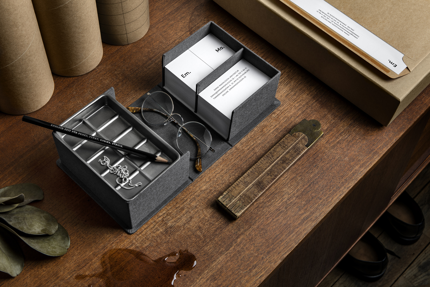 Brand identity, business cards and bespoke stationery boxes for Emma Magnusson Arkitektur by Lundgren+Lindqvist, Sweden