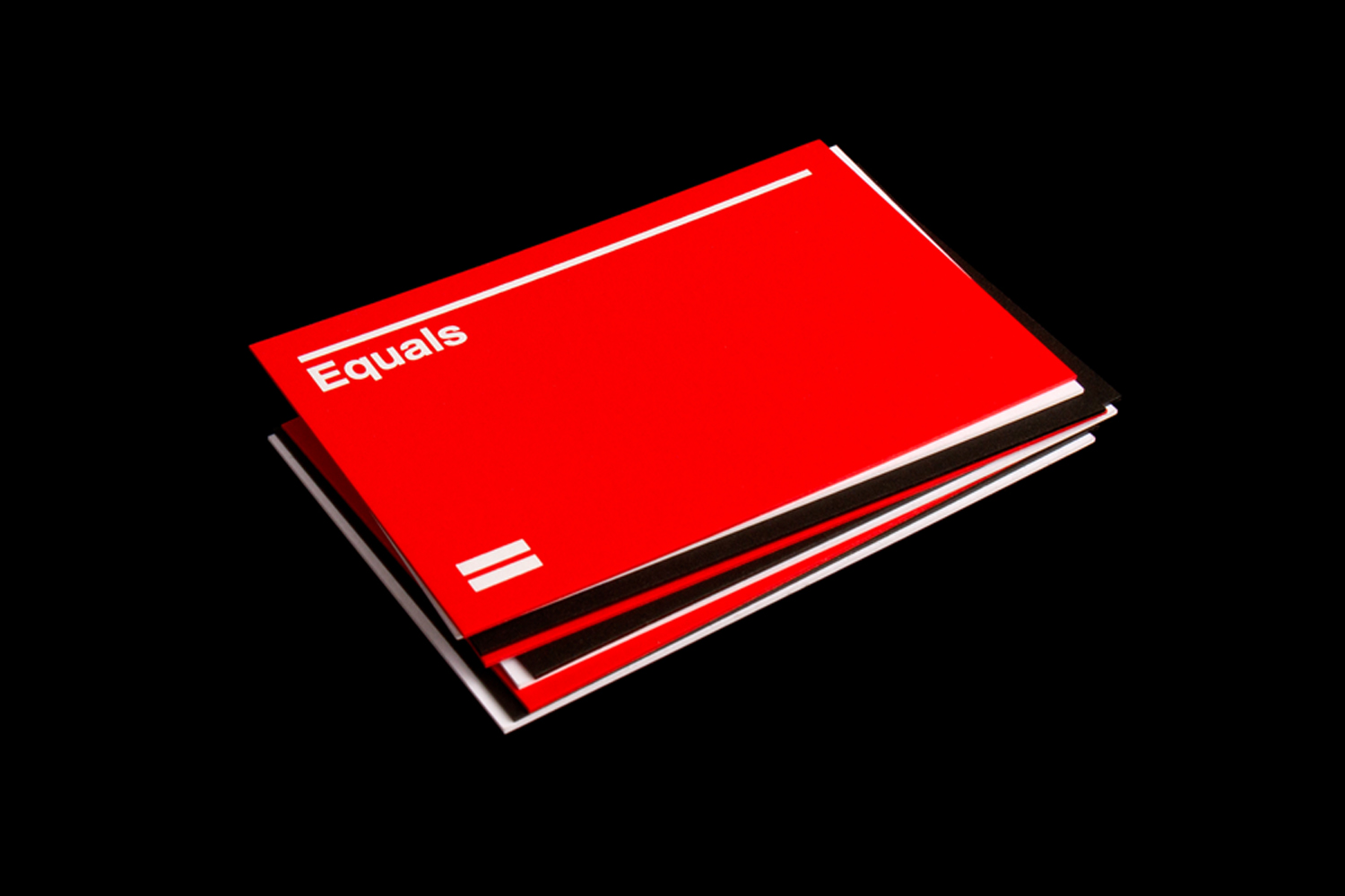 Red, black and white business cards for Equals Consulting designed by Spin