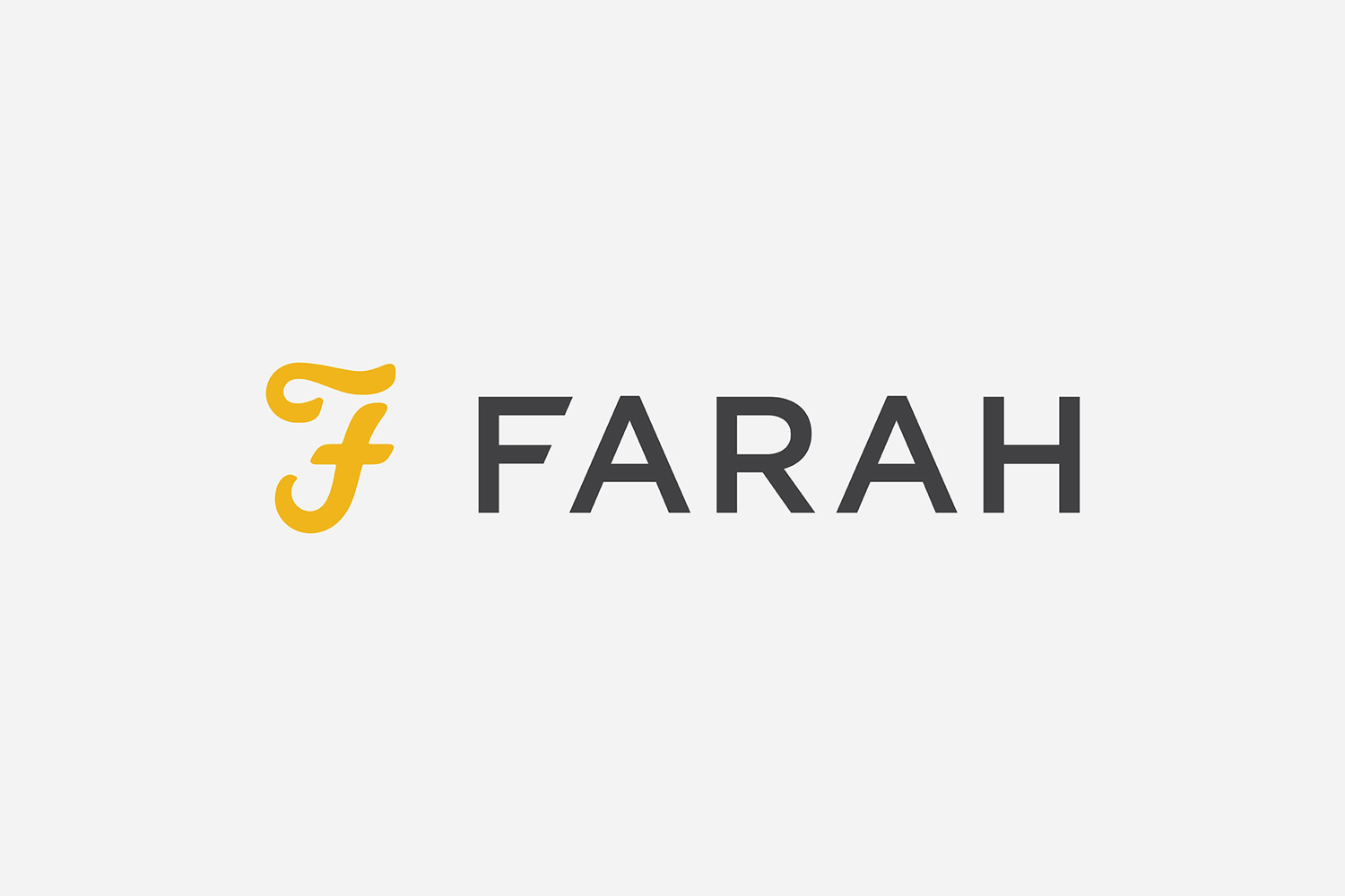 Logo for UK men's fashion brand Farah Farah by graphic design studio Post