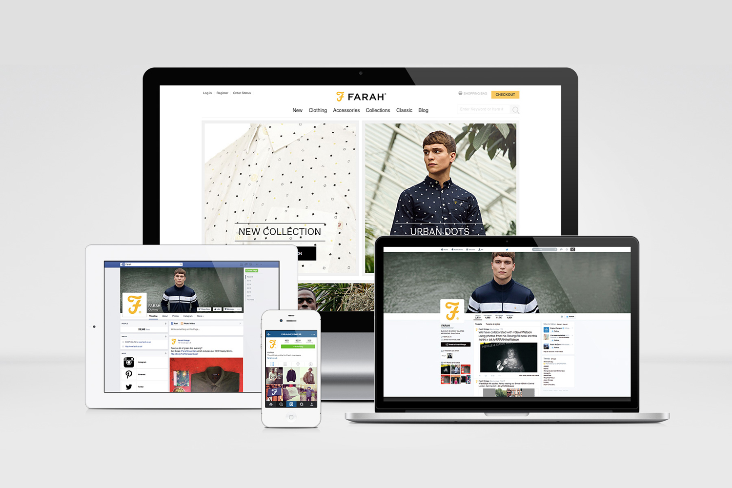 Brand identity and website for men's fashion brand Farah by graphic design studio Post