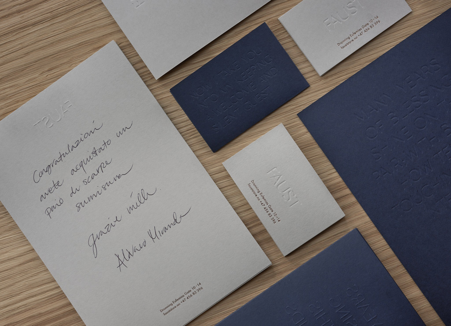 Brand identity, stationery and custom typeface by Snøhetta for Oslo-based high-end shoemaker Faust