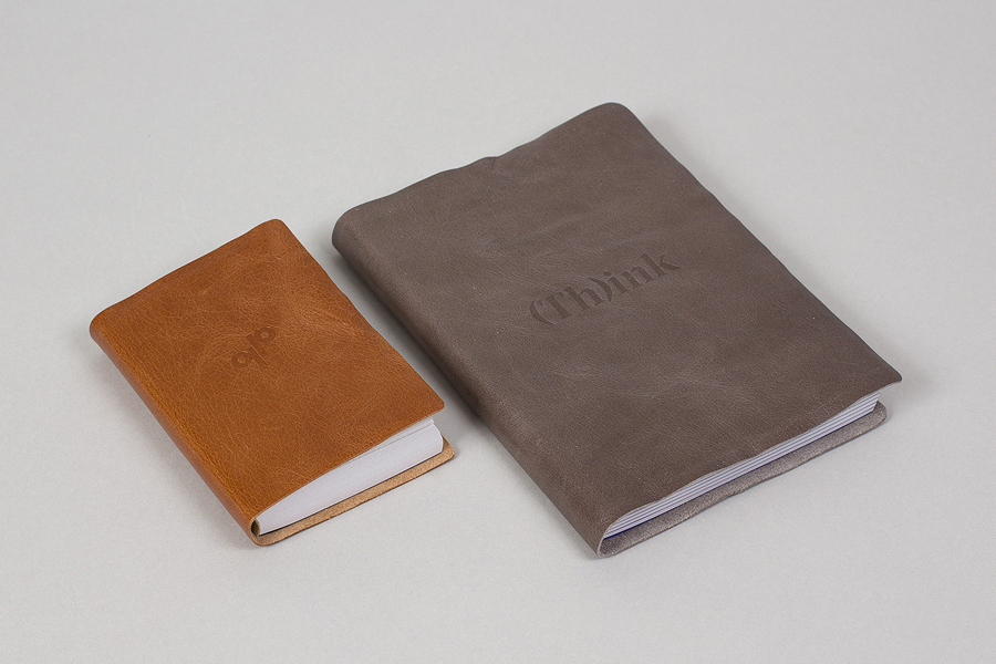 Leather-bound notebooks for Generation Press designed by Build