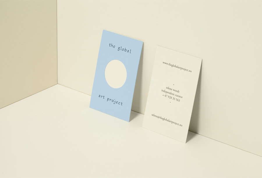 Duplex and die cut business cards by Work In Progress for art curation organisation Global Art Project