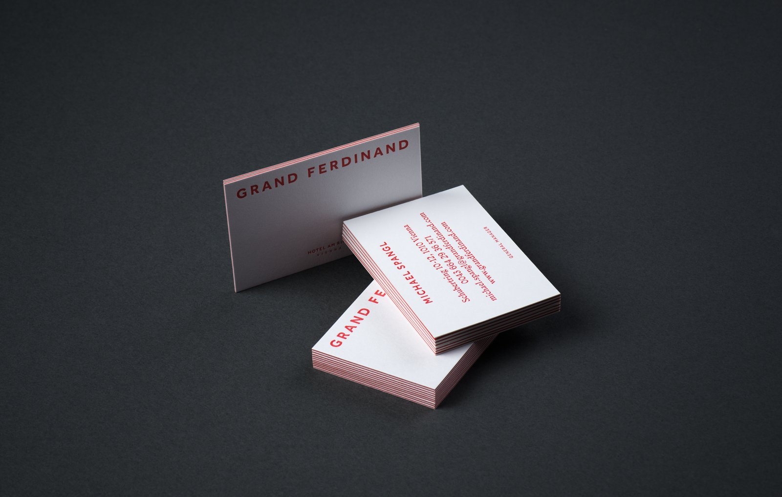 Duplex business card for hotel Grand Ferdinand designed by Moodley