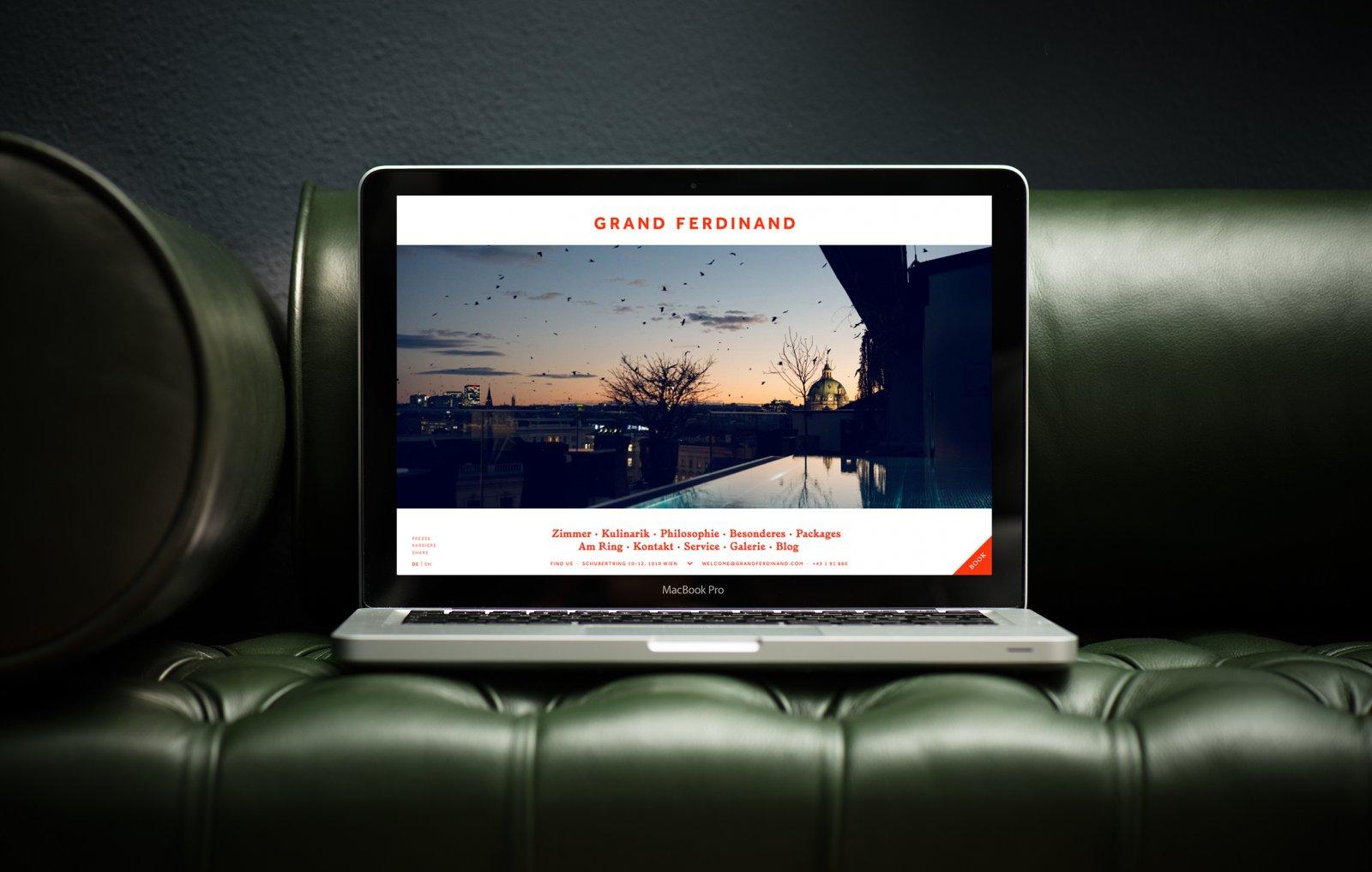 Brand identity and website for Vienna's Grand Ferdinand hotel by Austrian graphic design studio Moodley
