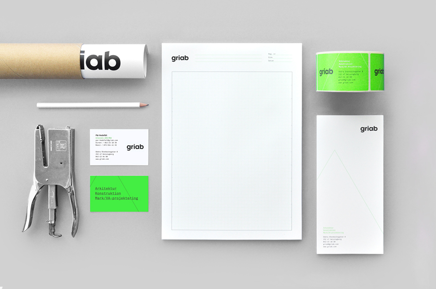 Logo and stationery with fluorescent green print treatment for architecture and engineering firm Griab designed by Kollor