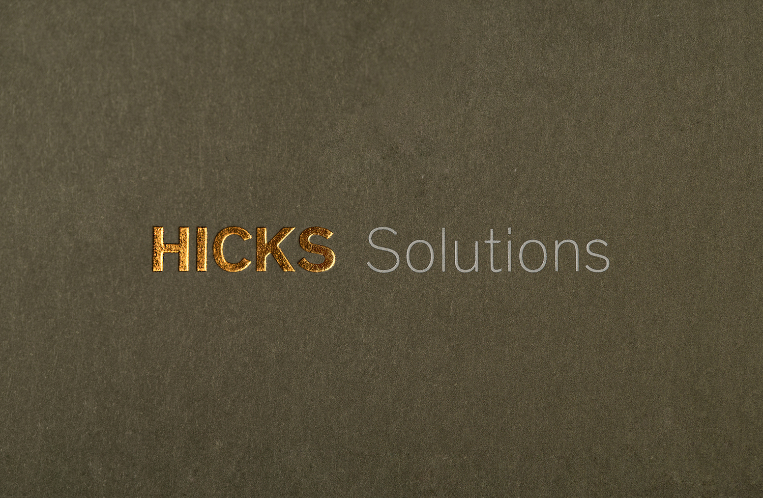 Block foiled logotype designed by Face for Mexican company Hicks Solutions, Mexico