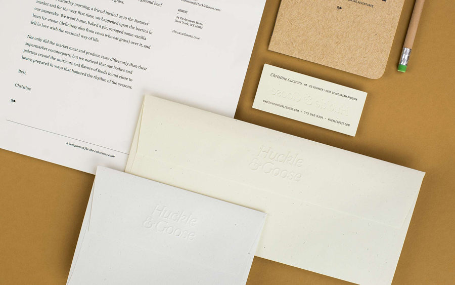 Logotype and blind embossed stationery design by Cast Iron for seasonal meal advisor Huckle & Goose