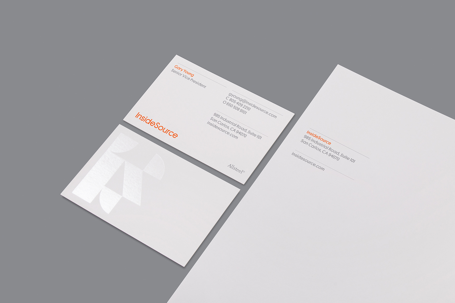 Cleared foiled business cards for InsideSource designed by Mucho