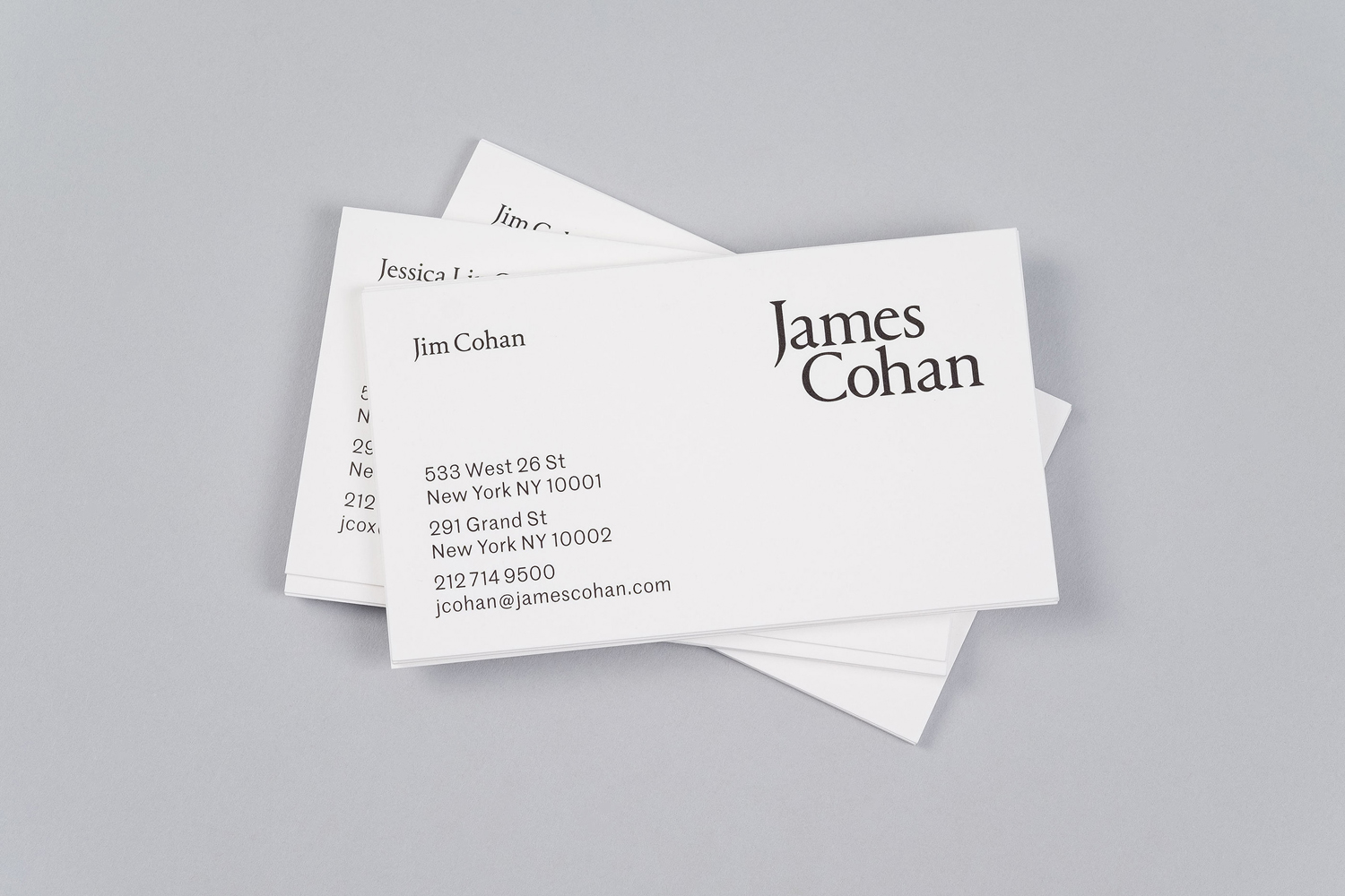 Brand identity and business cards for New York contemporary art gallery James Cohan by graphic design studio Project Projects