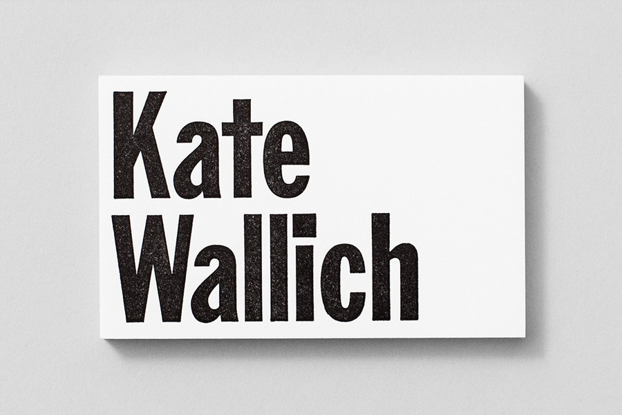 Custom Franklin Gothic logotype and business card for director and choreographer Kate Wallich designed by Shore