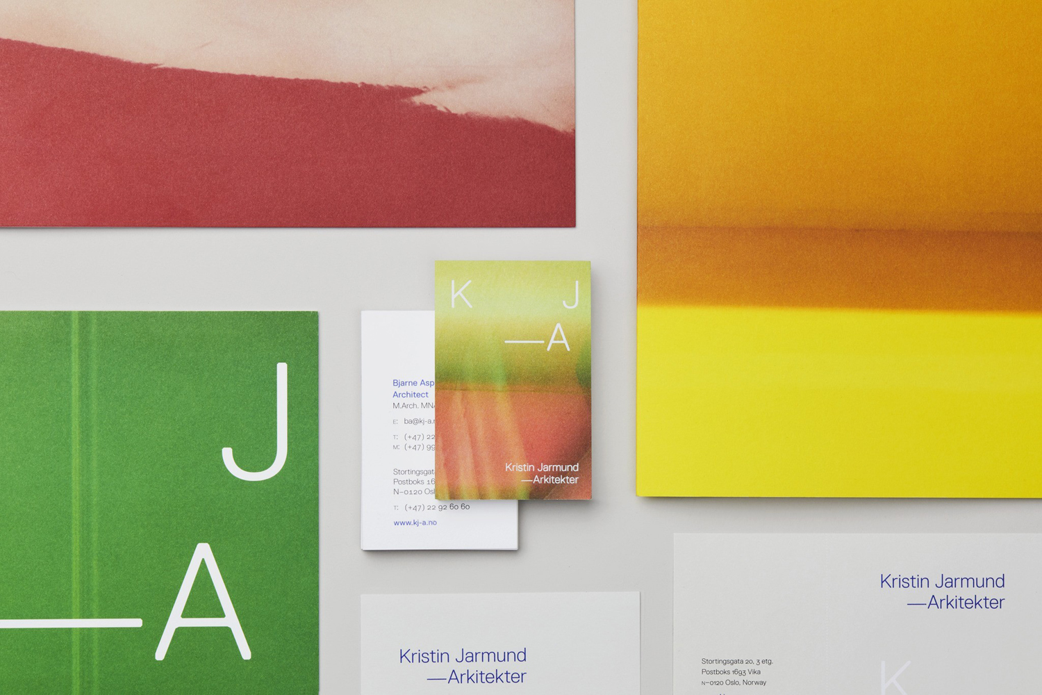 Logotype, stationery and business cards designed by Snøhetta for Oslo-based Kristin Jarmund Architects