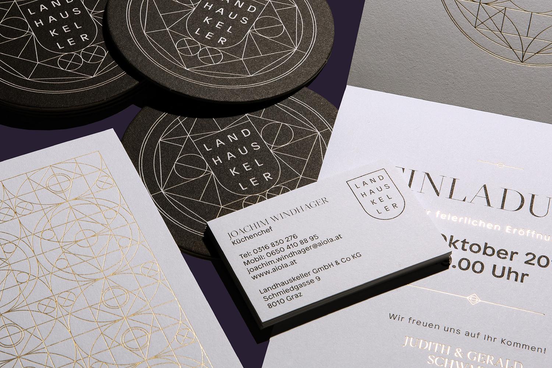 Logo, print, website and environment by Austrian graphic design studio Seite Zwei for Graz-based restaurant Landhaus Keller.