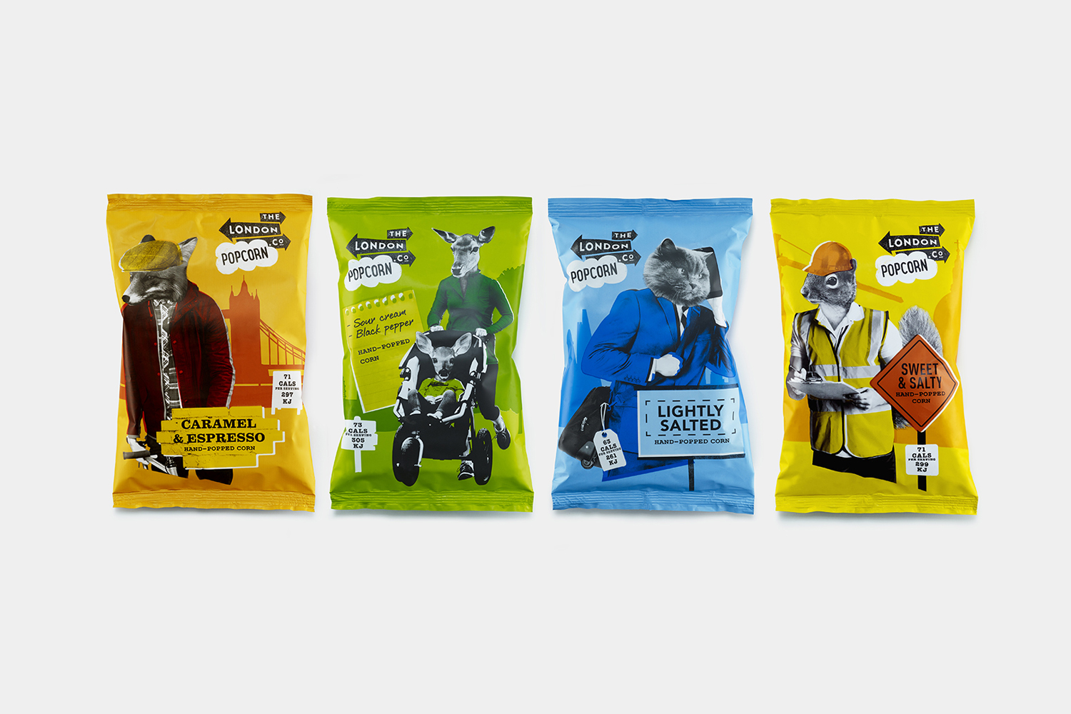 New packaging that mixes photography and illustration designed by UK based B&B Studio for The London Popcorn Co.