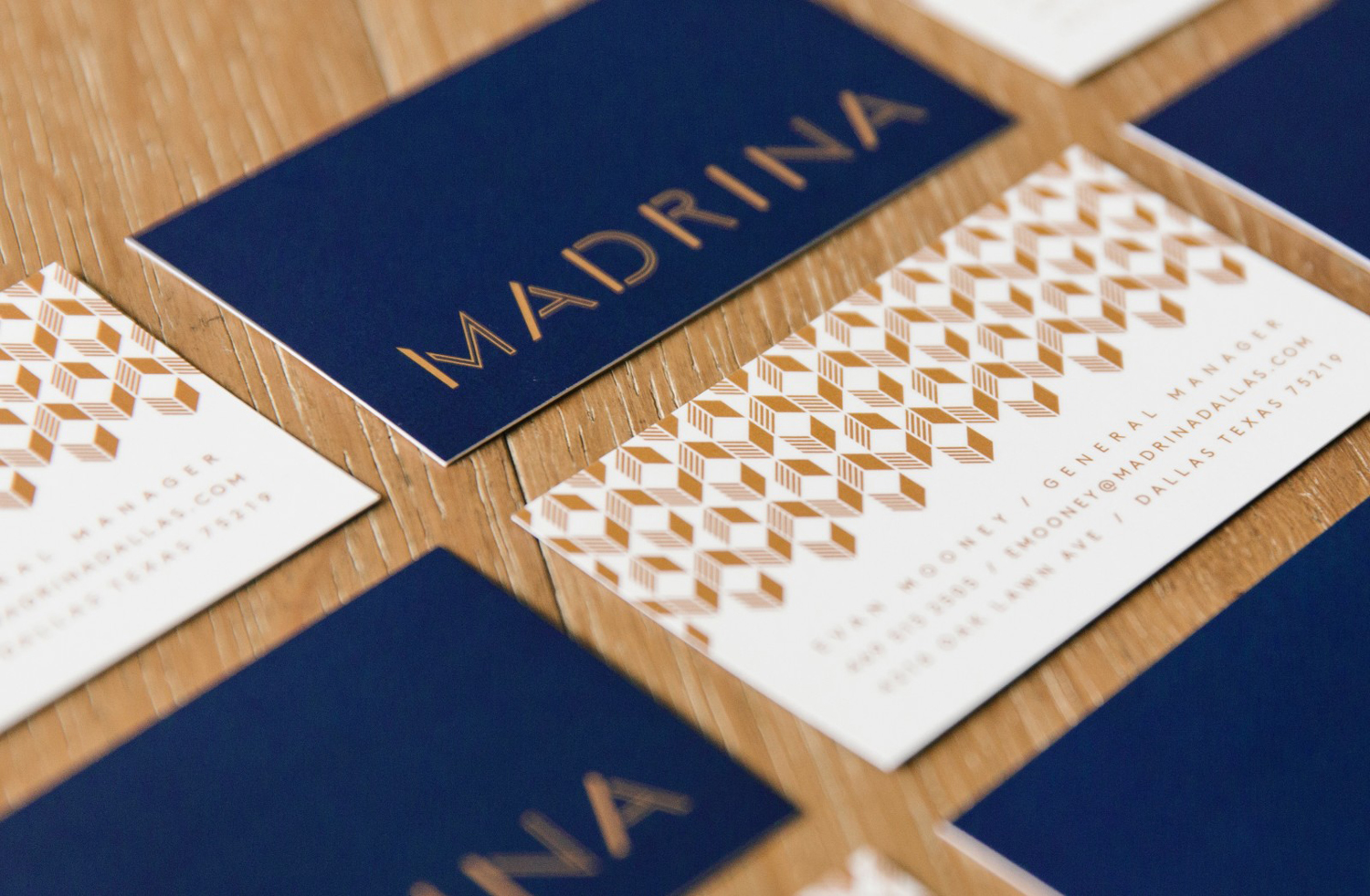 Brand identity and business cards for French inspired Mexican restaurant Madrina designed by Mast