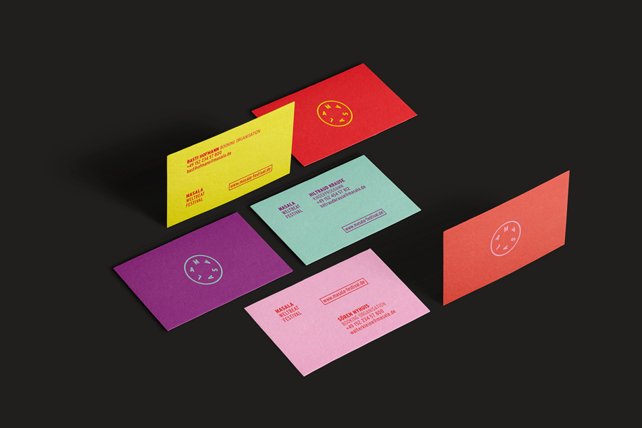 Colourful business cards for world music festival Masala Weltbeat by Hardy Seiler