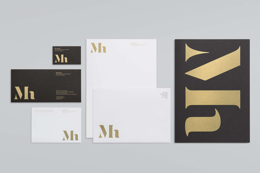 Visual identity, business card, letterhead and compliment slip designed by Dumbar for art museum Mauritshuis