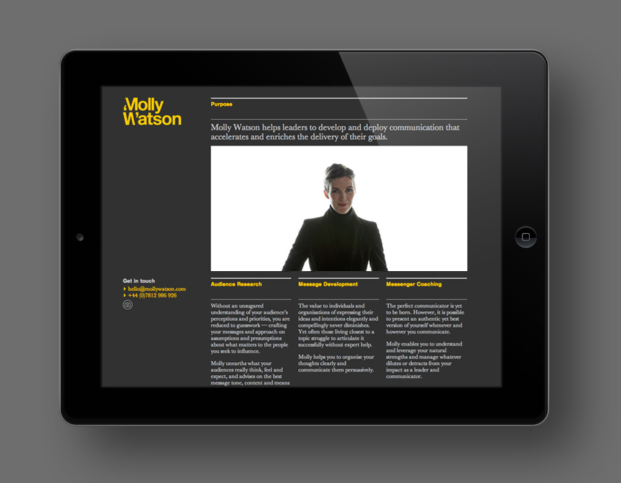 Visual identity and website designed by Studio Blackburn for communications specialist Molly Watson