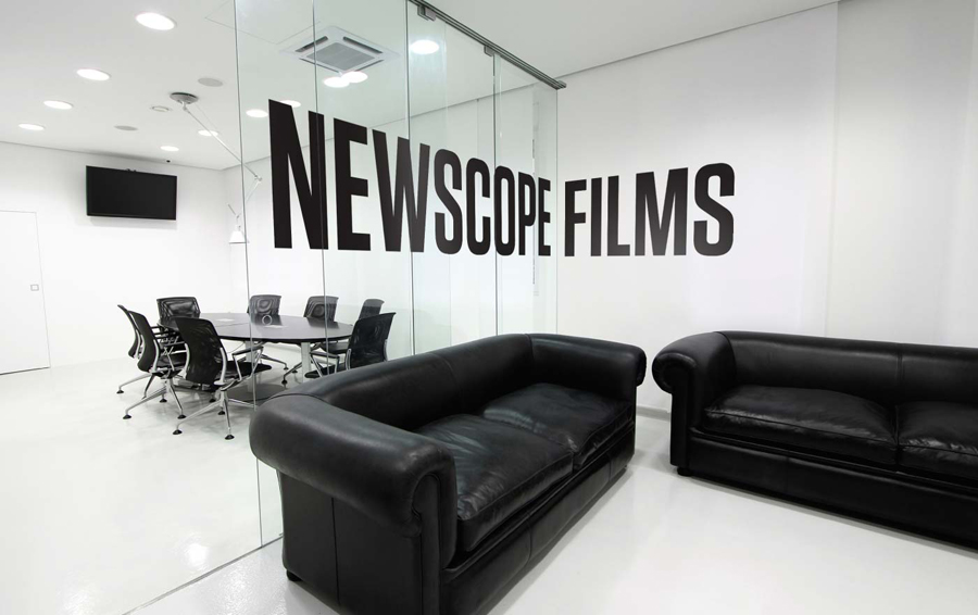 Logo design and interior decals by Karoshi for Newscope Films