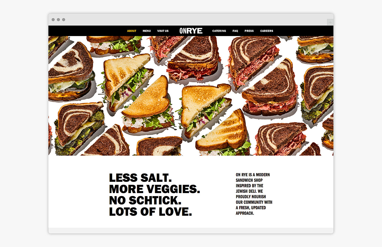 Brand identity and website design by Pentagram for Washington DC sandwich shop On Rye