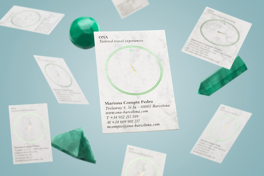 Green and gold foiled business card for travel guide Ona by Mucho