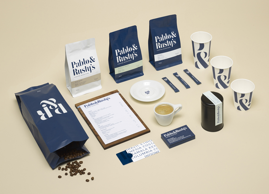 Visual identity, packaging and stationery design for Sydney based coffee roaster Pablo & Rusty's designed by Manual