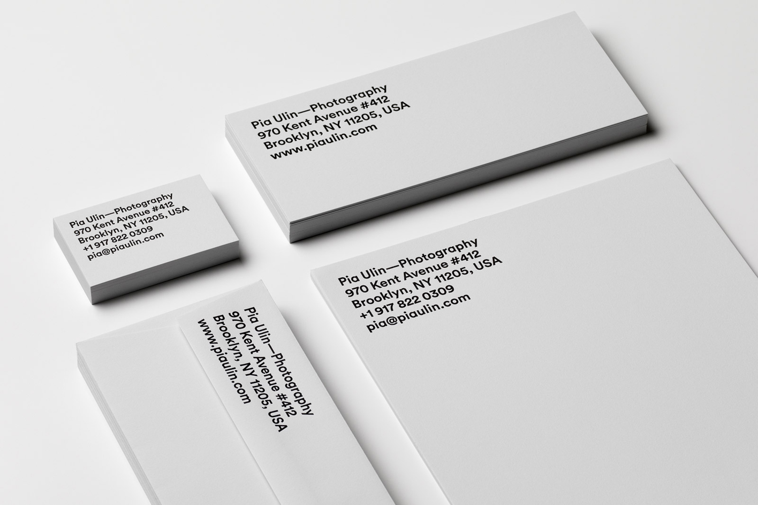 Brand identity and letterpress stationery for Pia Ulin Photography by The Studio, Sweden