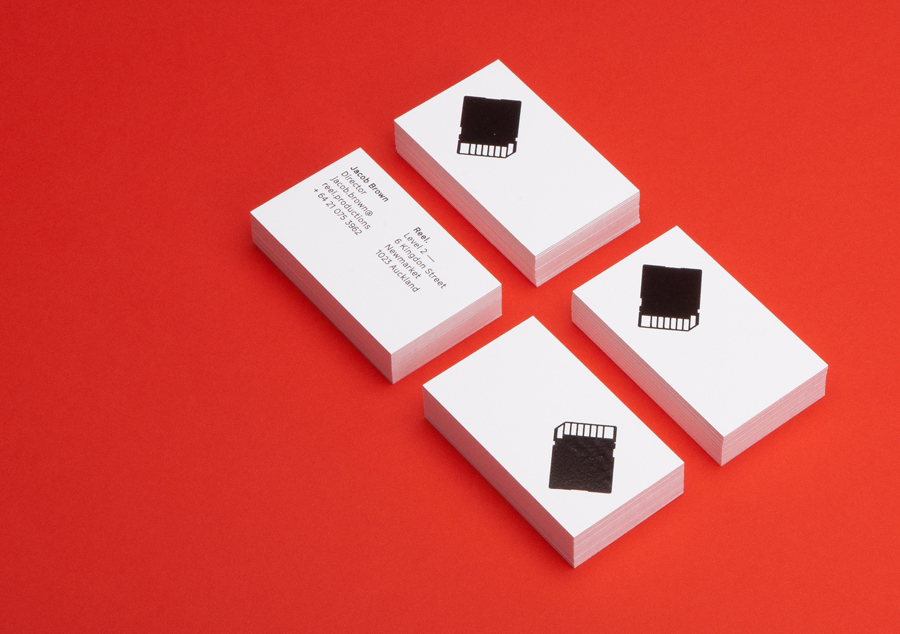 Letterpress business cards for Reel by graphic design studio Richards Partners