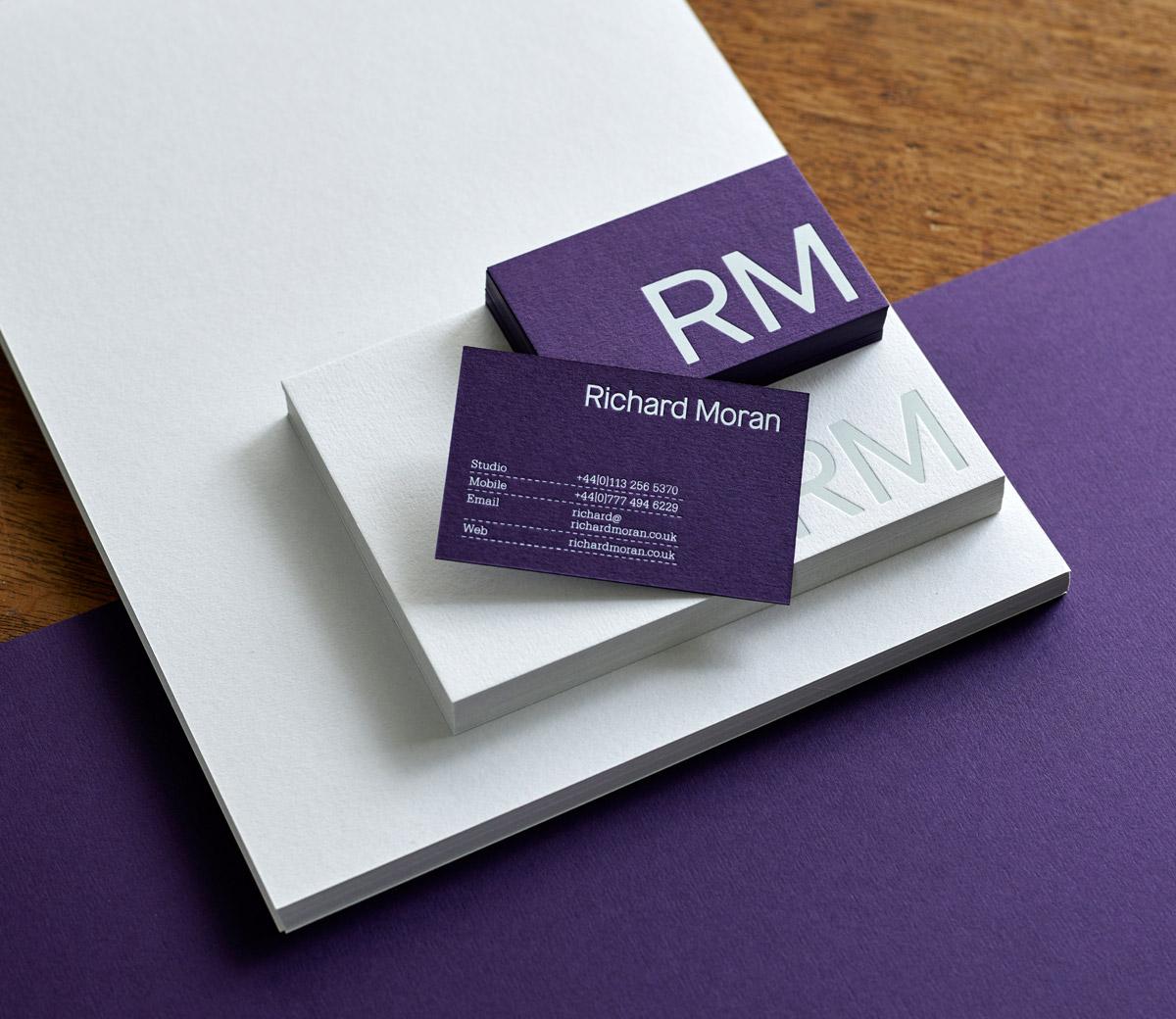 Brand identity and stationery set for UK photographer Richard Moran by Leeds based graphic design studio Journal