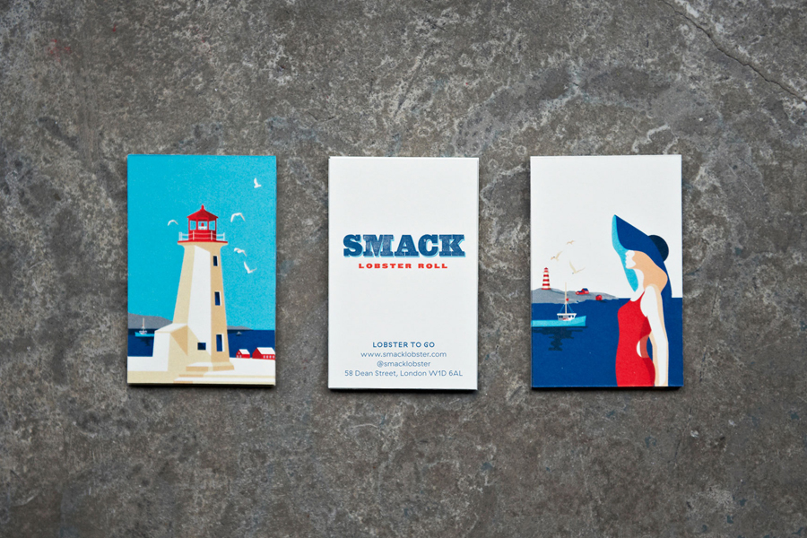 Illustrated business cards by &Smith for Smack Lobster Roll