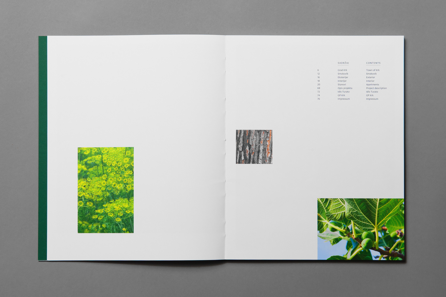 Branding and brochure spread by Studio8585 for Croatian property development Smokovik