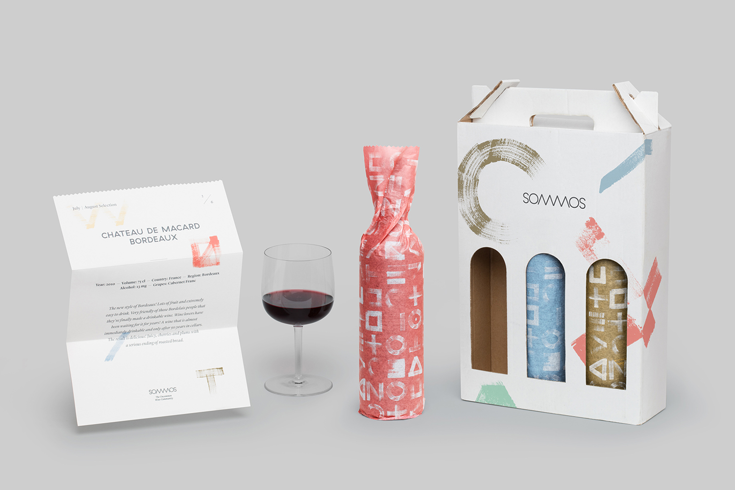 Logo, stationery, print and packaging by Mucho for Dutch online wine subscription service Sommos