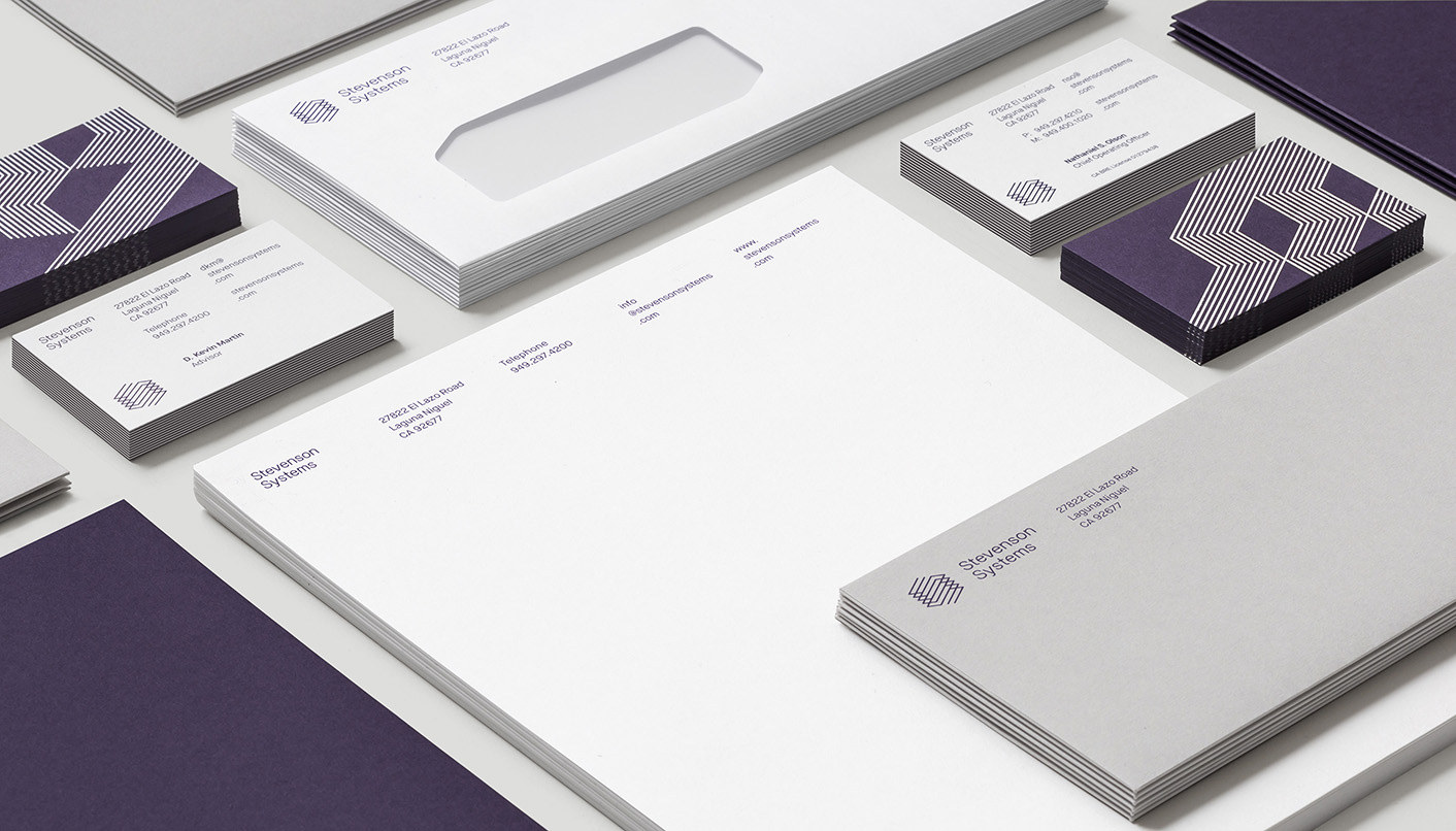 Brand identity and stationery by London-based Socio Design for space accounting specialist Stevenson Systems