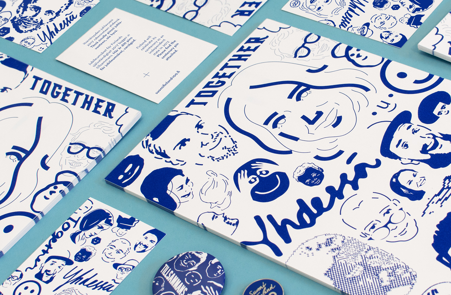 Brand identity, illustration and print by Kokoro & Moi for the celebration of Finland's centenary