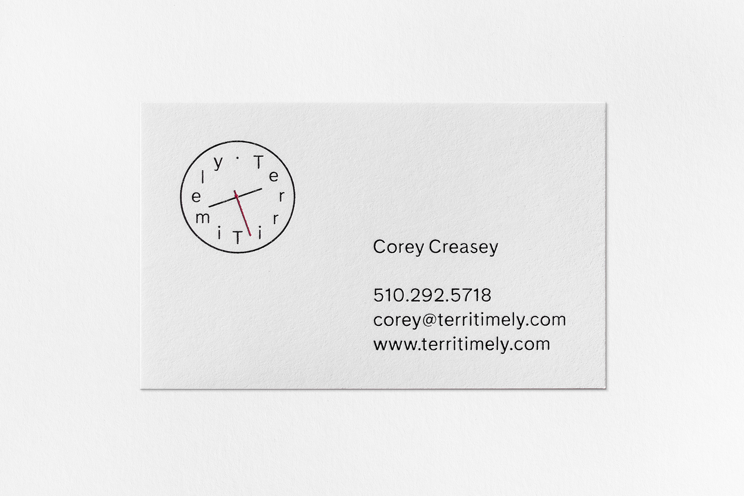 Business card for Californian directing duo Terri Timely by Bedow, Sweden