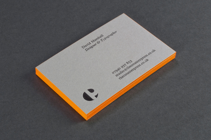 Letterpress business card design with orange edge painted detail for The Counter Press