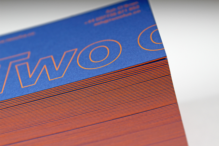Duplex Colorplan business cards for British design studio Two of Us